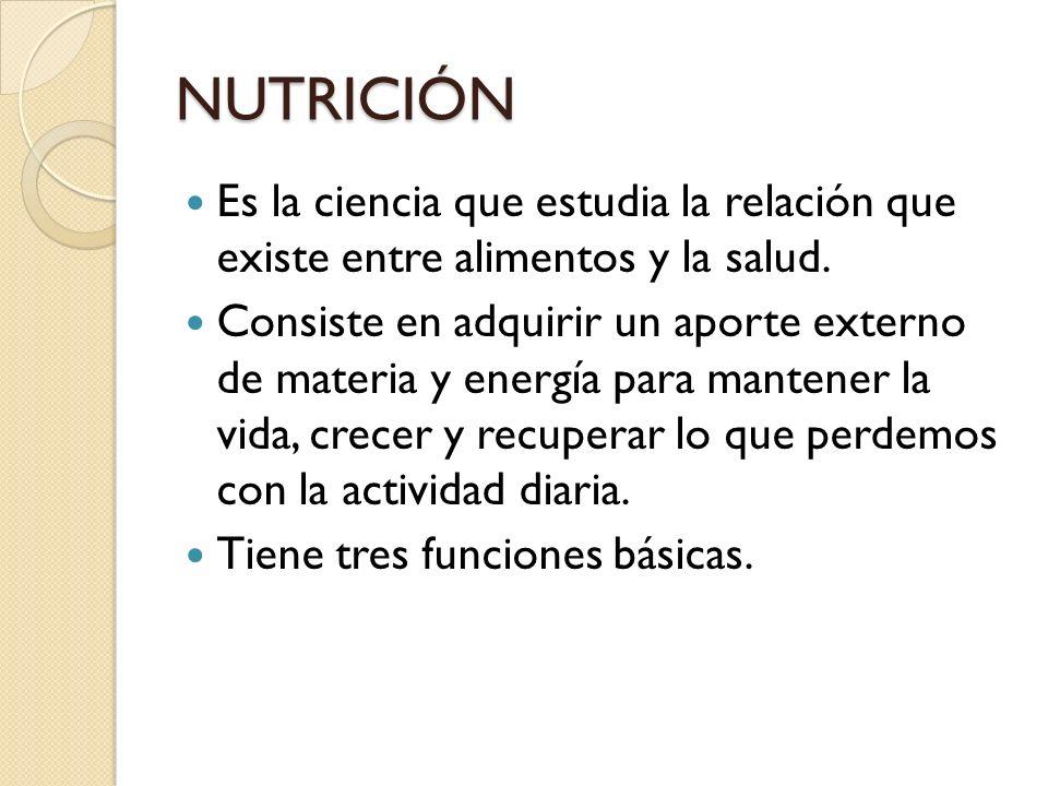 NUTRICIÓN Es la ciencia que estudia la relación que existe entre alimentos y la salud.