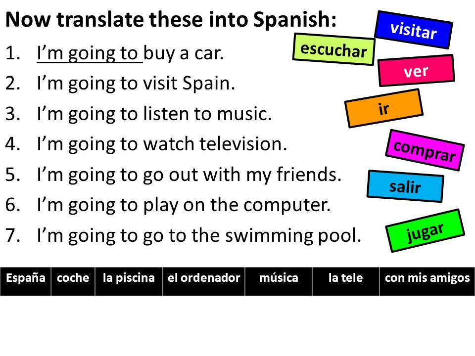 Now translate these into Spanish: