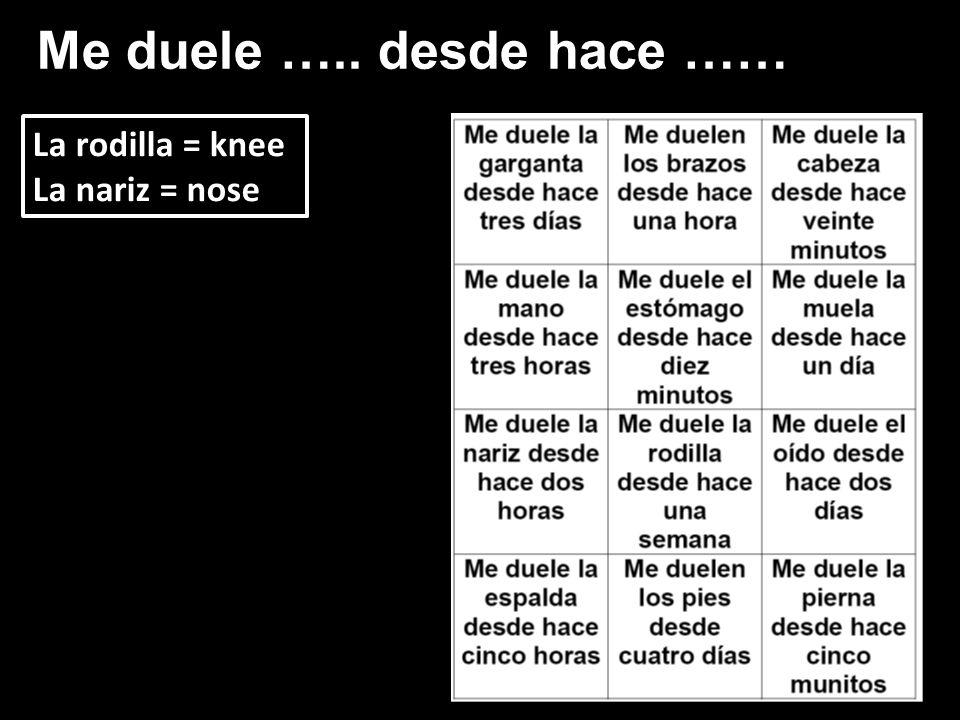 Me duele ….. desde hace …… La rodilla = knee La nariz = nose