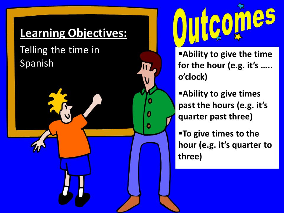 Outcomes Learning Objectives: Telling the time in Spanish