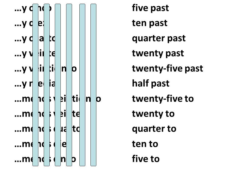 …y cinco five past …y diez ten past. …y cuarto quarter past. …y veinte twenty past. …y veinticinco twenty-five past.