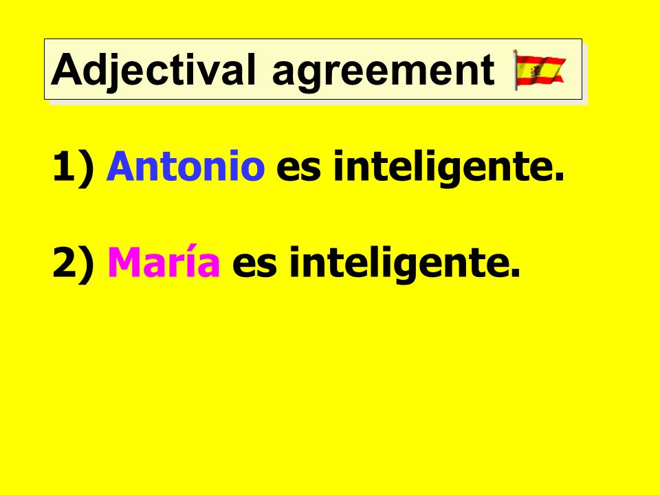 Adjectival agreement Antonio es inteligente. 2) María es inteligente.