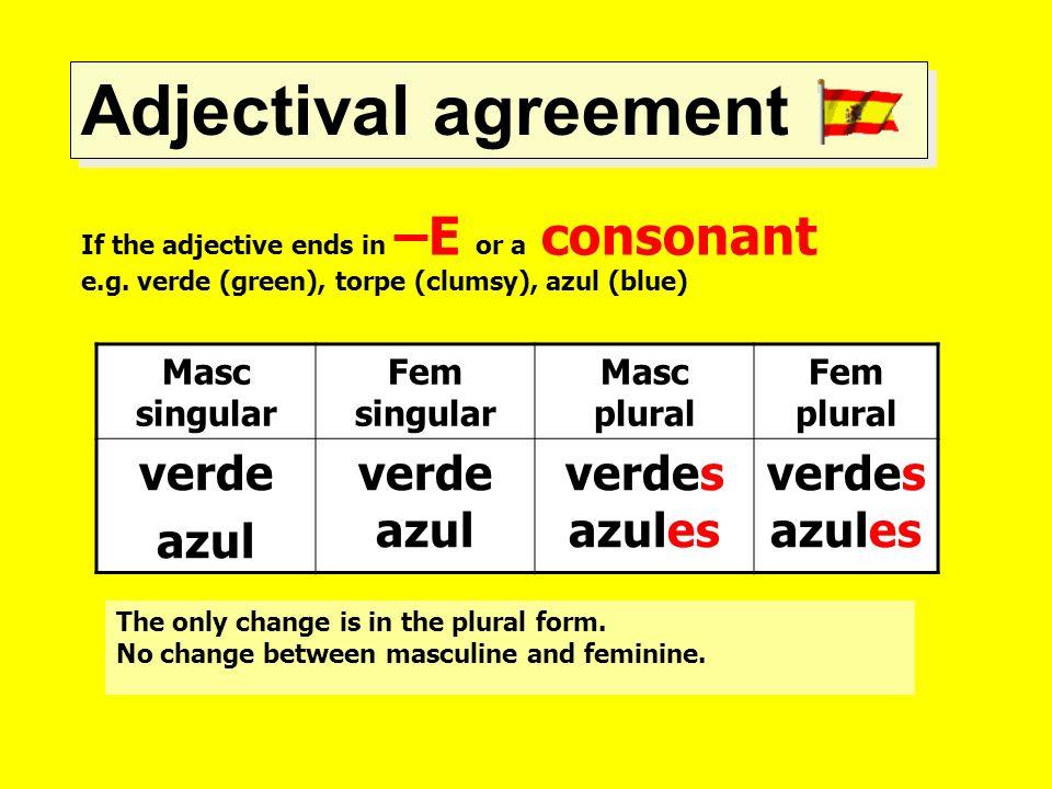 Adjectival agreement verde azul verde azul verdes azules Masc singular