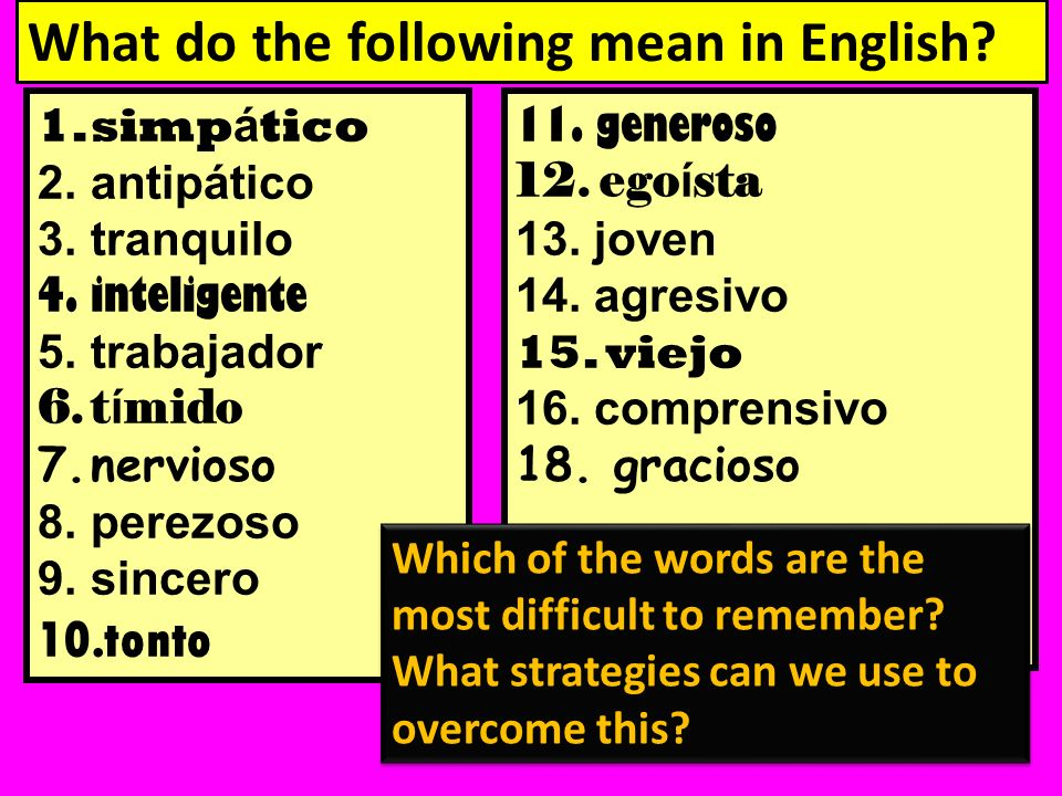 What do the following mean in English