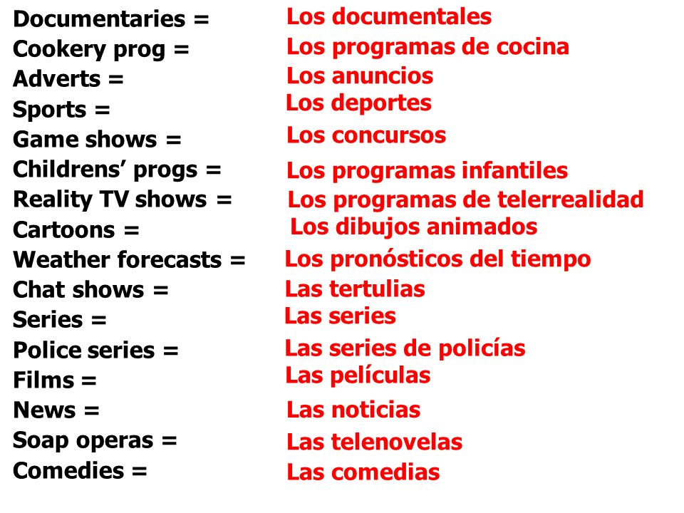 Los documentalesDocumentaries = Cookery prog = Adverts = Sports = Game shows = Childrens' progs = Reality TV shows =