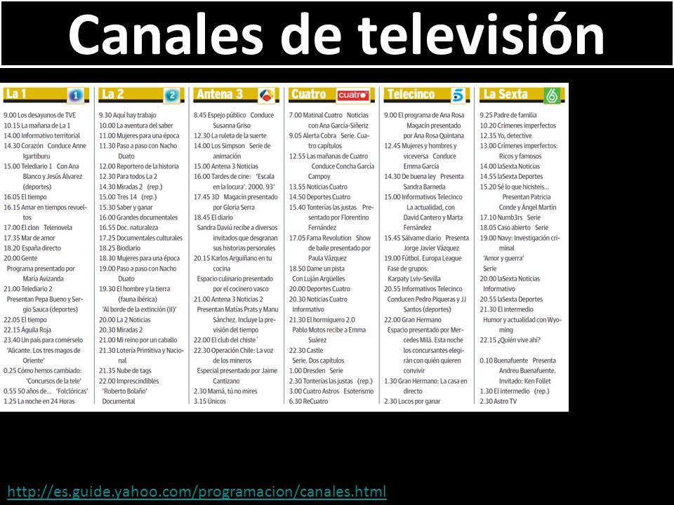 Canales de televisión http://es.guide.yahoo.com/programacion/canales.html