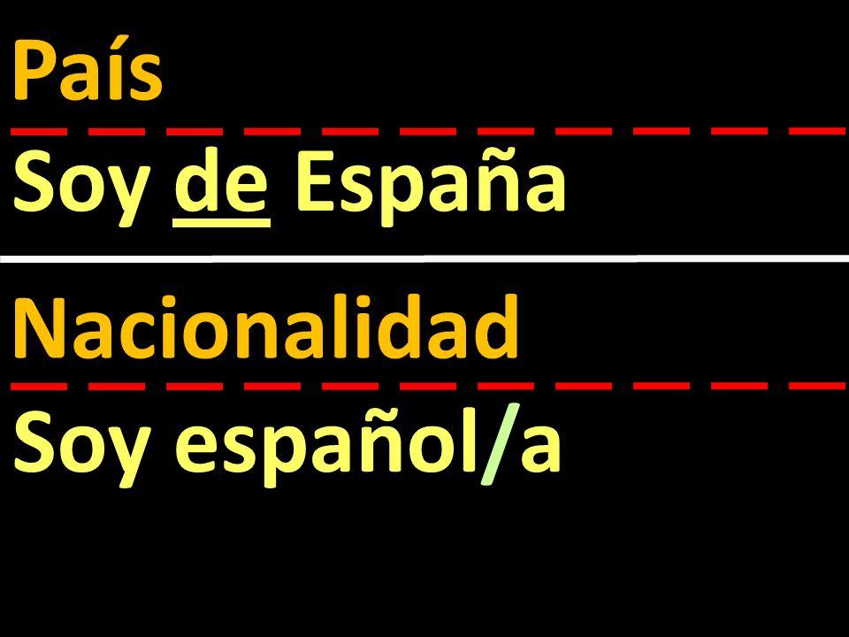 País Soy de España Nacionalidad Soy español/a