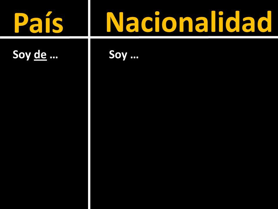 País Nacionalidad Soy de … Soy …