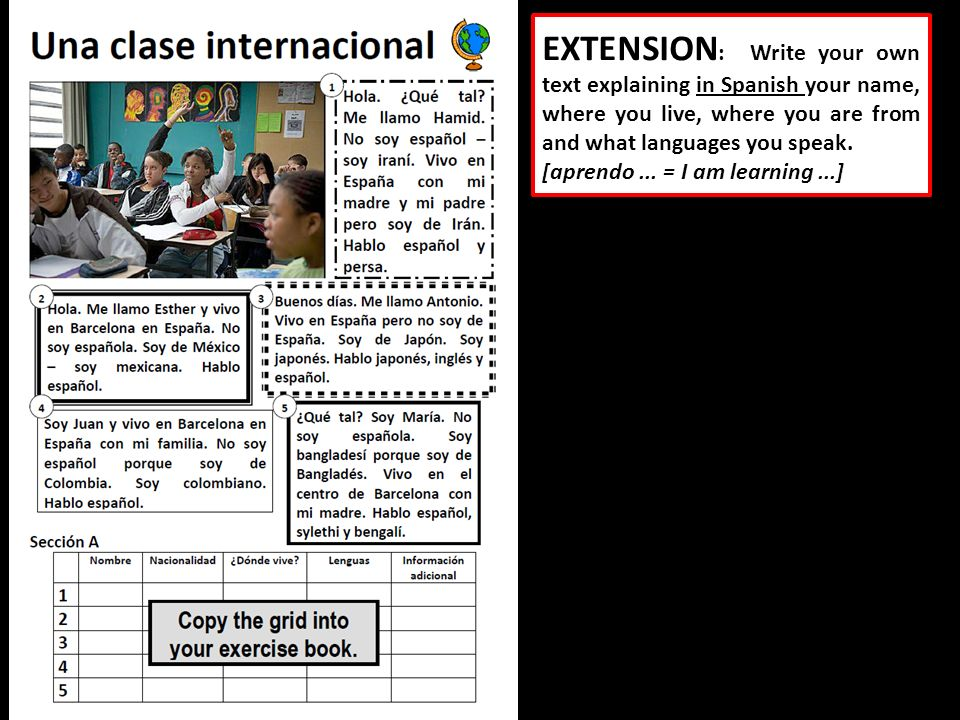 EXTENSION: Write your own text explaining in Spanish your name, where you live, where you are from and what languages you speak.