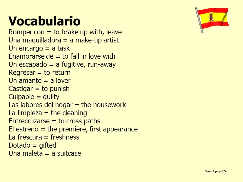Vocabulario Romper con = to brake up with, leave