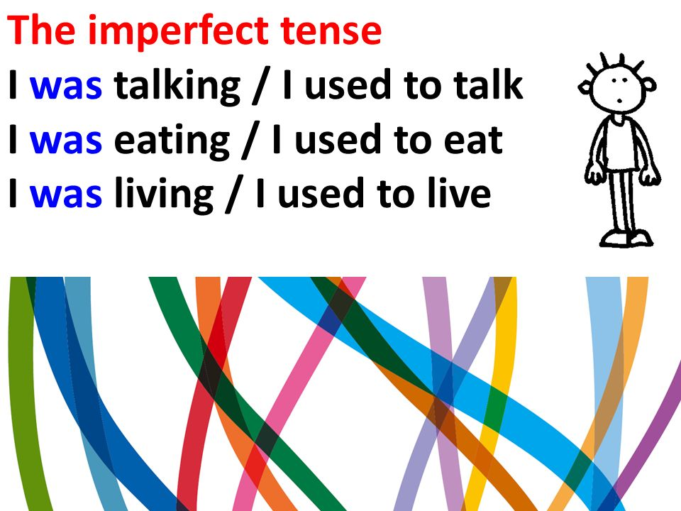 The imperfect tense I was talking / I used to talk.