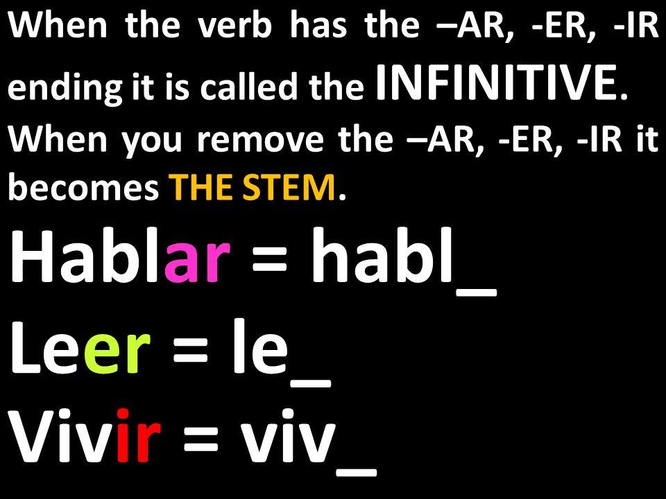 Hablar = habl_ Leer = le_ Vivir = viv_