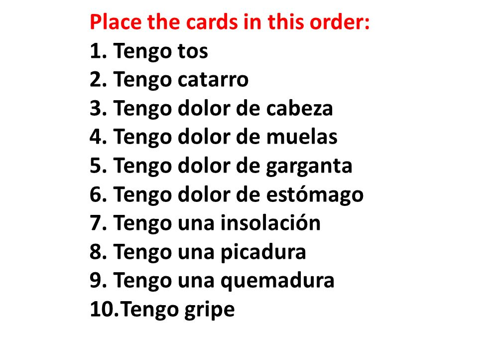 Place the cards in this order: