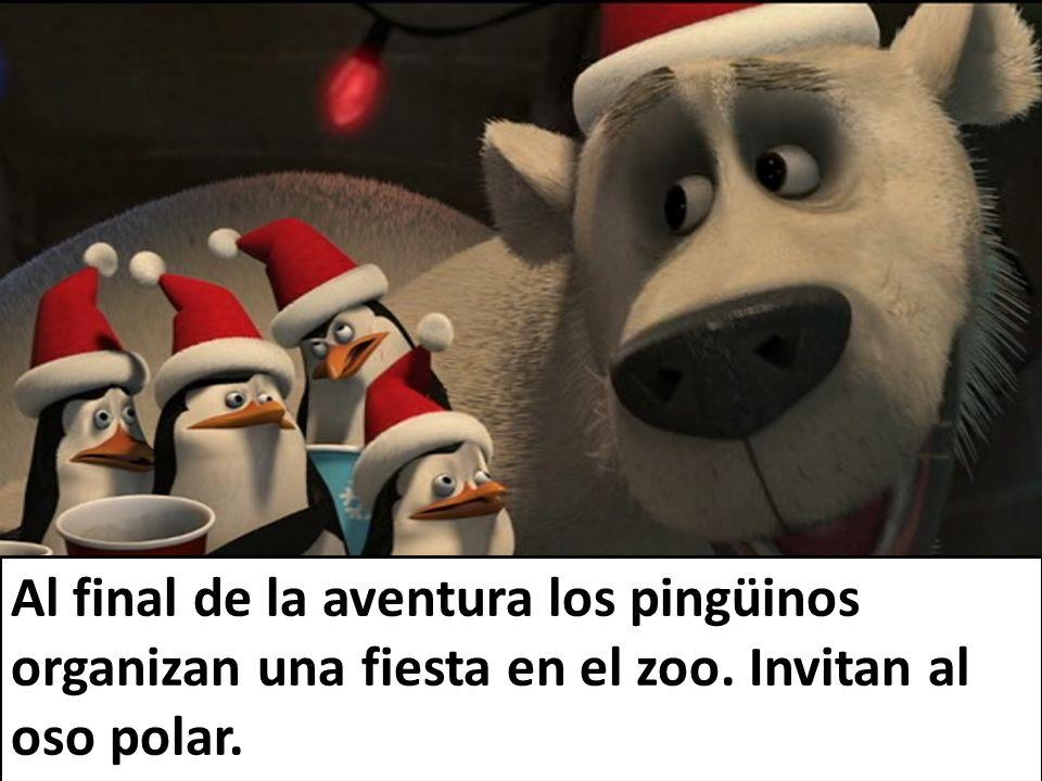 Al final de la aventura los pingüinos organizan una fiesta en el zoo