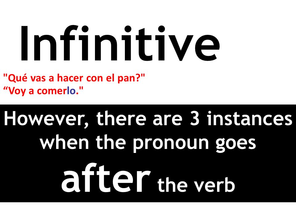 However, there are 3 instances when the pronoun goes after the verb
