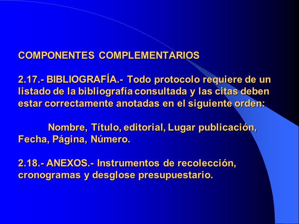 COMPONENTES COMPLEMENTARIOS 2. 17. - BIBLIOGRAFÍA