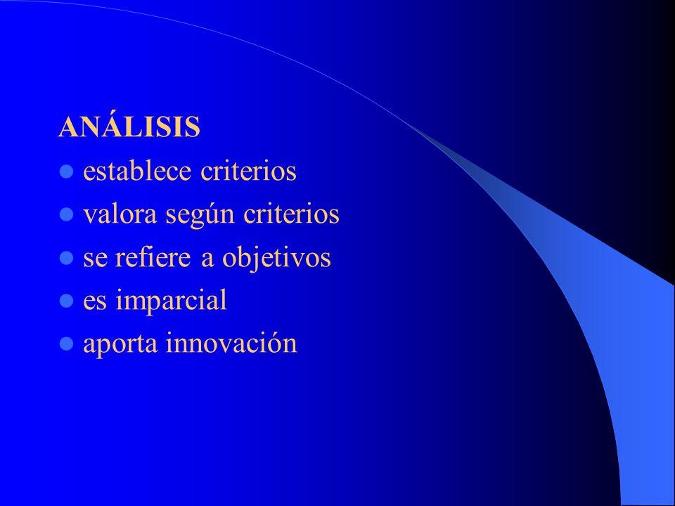 ANÁLISIS establece criterios. valora según criterios.