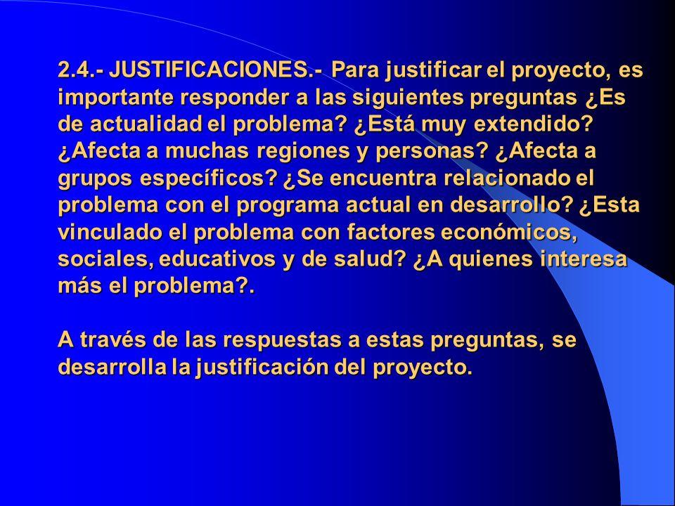 2.4.- JUSTIFICACIONES.- Para justificar el proyecto, es importante responder a las siguientes preguntas ¿Es de actualidad el problema.