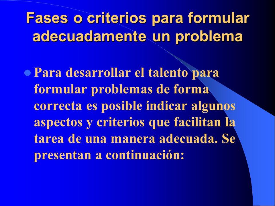 Fases o criterios para formular adecuadamente un problema