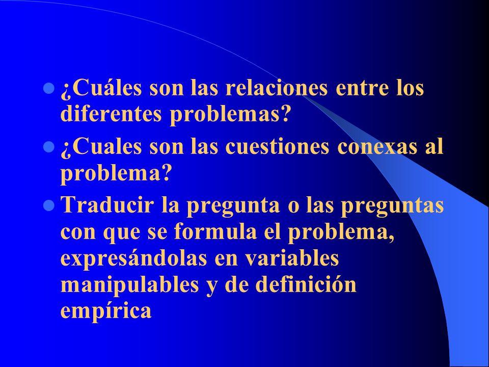 ¿Cuáles son las relaciones entre los diferentes problemas