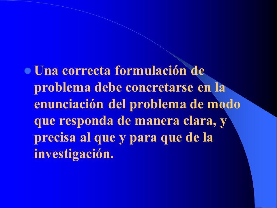 Una correcta formulación de problema debe concretarse en la enunciación del problema de modo que responda de manera clara, y precisa al que y para que de la investigación.