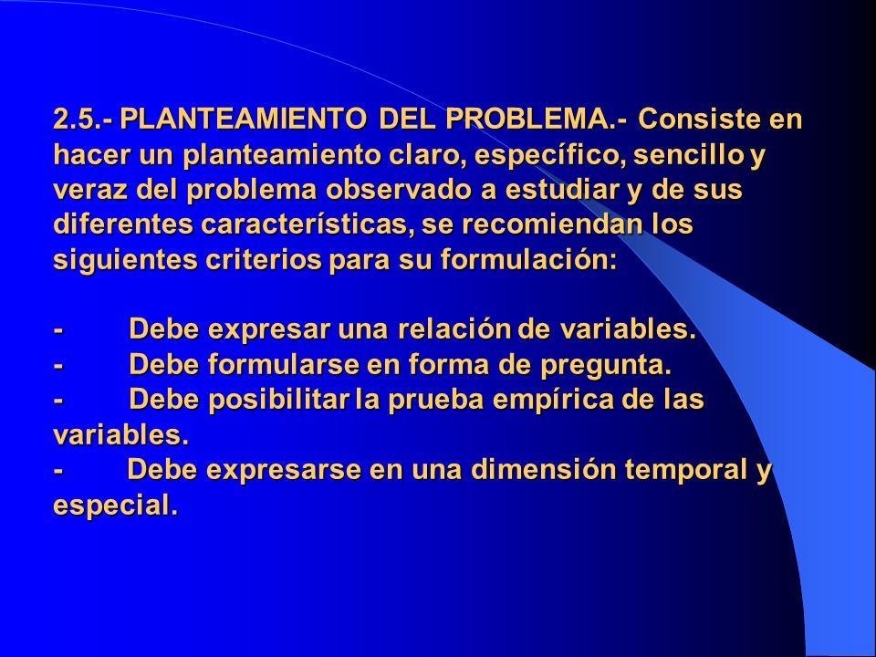 2. 5. - PLANTEAMIENTO DEL PROBLEMA