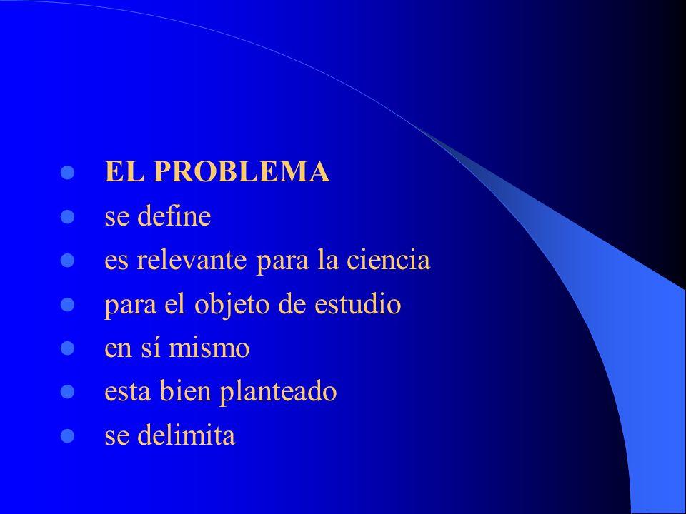 EL PROBLEMA se define. es relevante para la ciencia. para el objeto de estudio. en sí mismo. esta bien planteado.