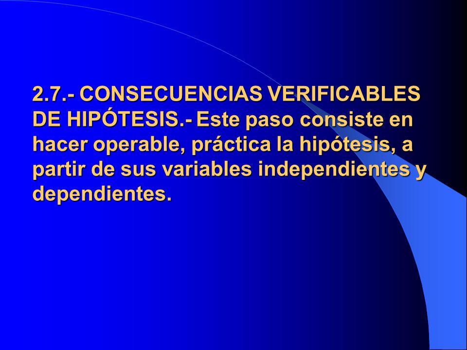 2. 7. - CONSECUENCIAS VERIFICABLES DE HIPÓTESIS