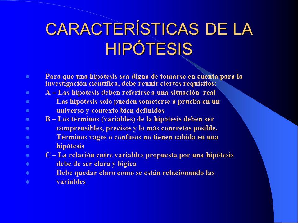 CARACTERÍSTICAS DE LA HIPÓTESIS