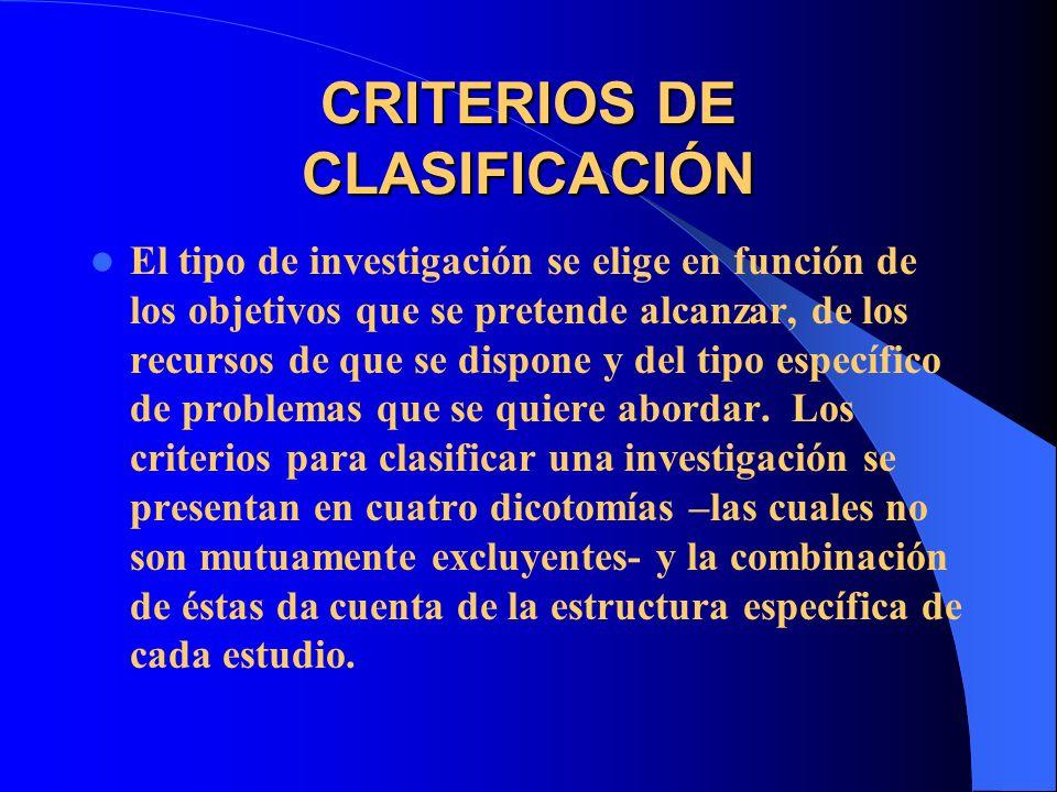 CRITERIOS DE CLASIFICACIÓN