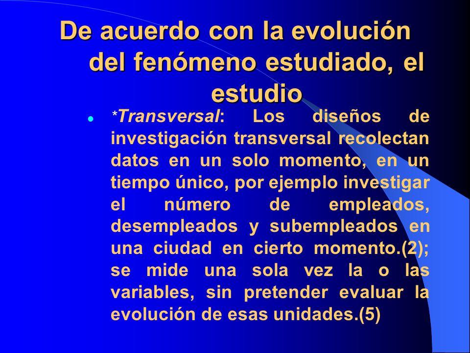 De acuerdo con la evolución del fenómeno estudiado, el estudio