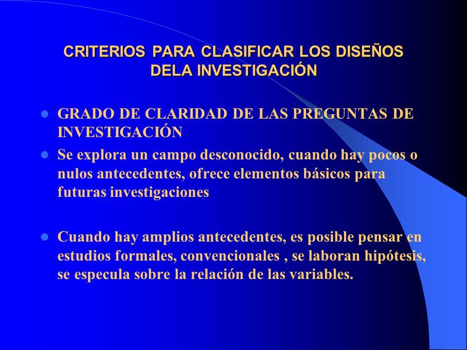 CRITERIOS PARA CLASIFICAR LOS DISEÑOS DELA INVESTIGACIÓN