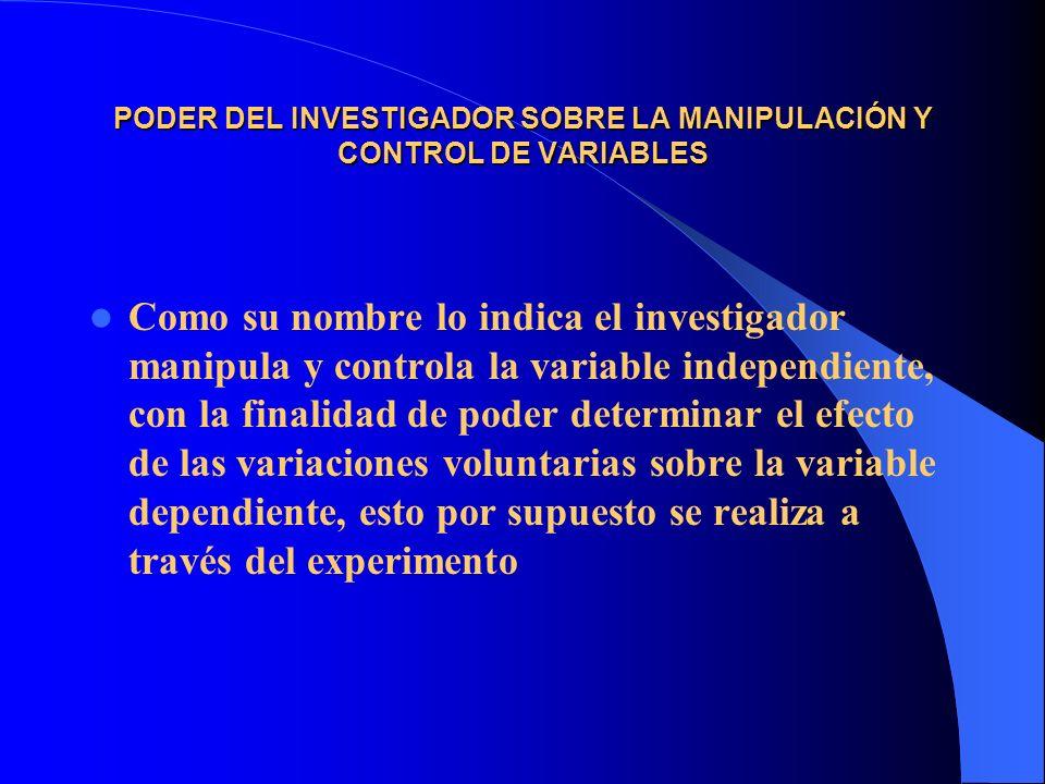 PODER DEL INVESTIGADOR SOBRE LA MANIPULACIÓN Y CONTROL DE VARIABLES