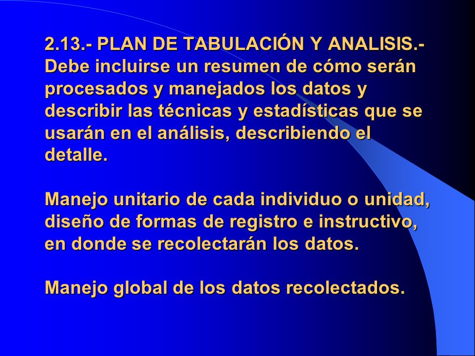 2. 13. - PLAN DE TABULACIÓN Y ANALISIS