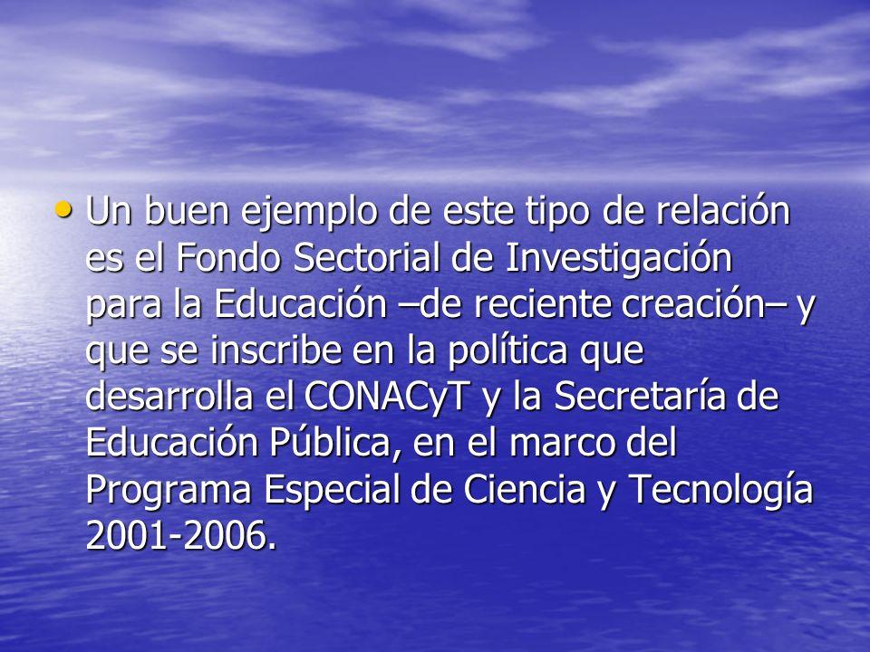 Un buen ejemplo de este tipo de relación es el Fondo Sectorial de Investigación para la Educación –de reciente creación– y que se inscribe en la política que desarrolla el CONACyT y la Secretaría de Educación Pública, en el marco del Programa Especial de Ciencia y Tecnología 2001-2006.