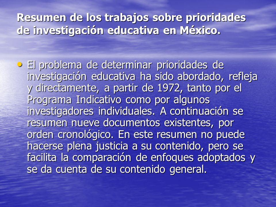 Resumen de los trabajos sobre prioridades de investigación educativa en México.