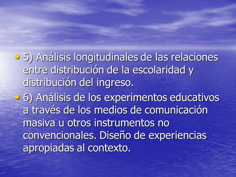 5) Análisis longitudinales de las relaciones entre distribución de la escolaridad y distribución del ingreso.