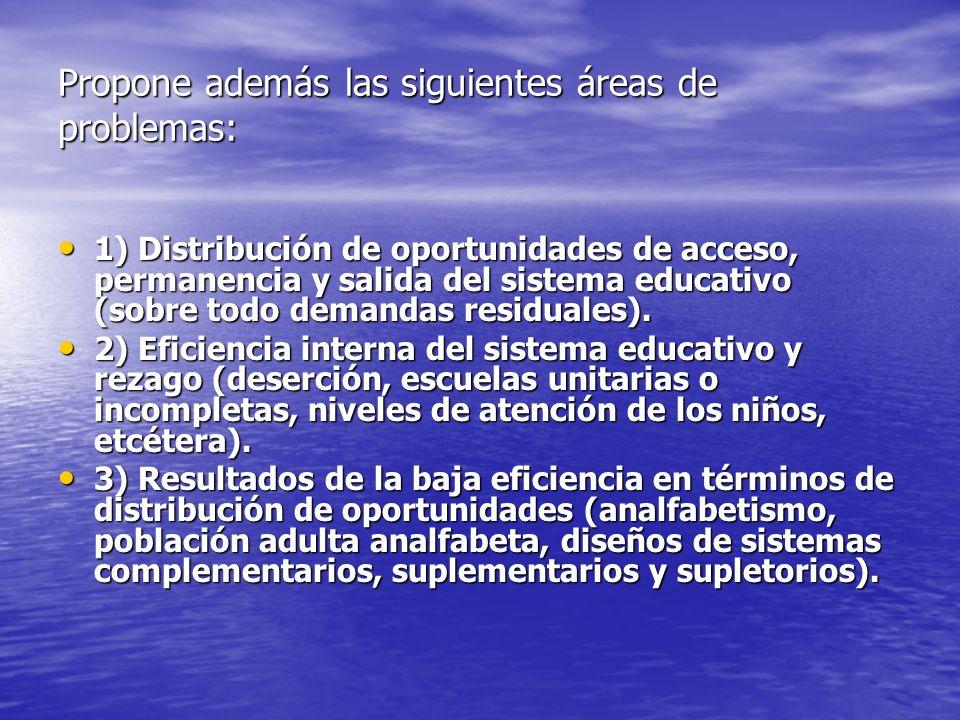 Propone además las siguientes áreas de problemas: