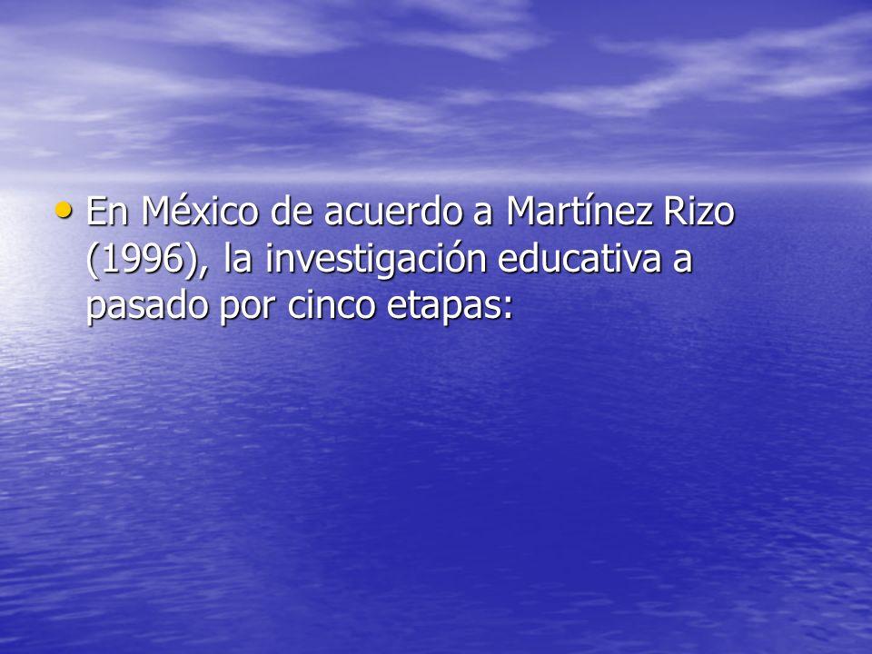 En México de acuerdo a Martínez Rizo (1996), la investigación educativa a pasado por cinco etapas: