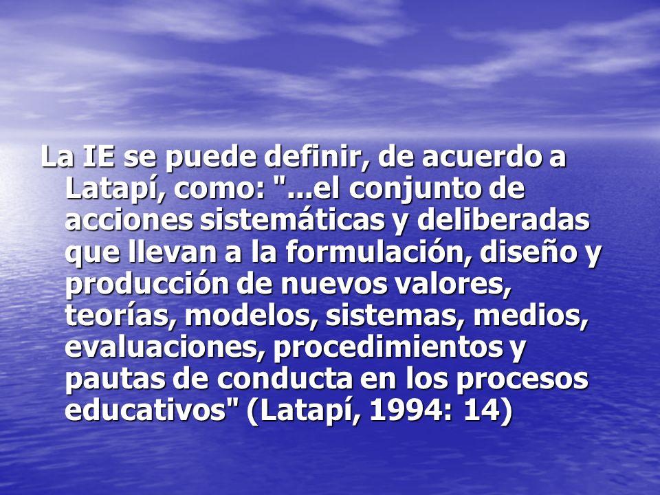 La IE se puede definir, de acuerdo a Latapí, como: