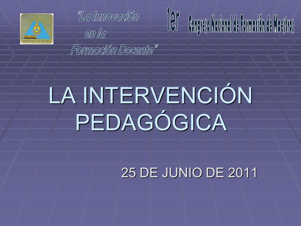 LA INTERVENCIÓN PEDAGÓGICA