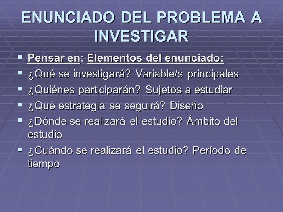 ENUNCIADO DEL PROBLEMA A INVESTIGAR