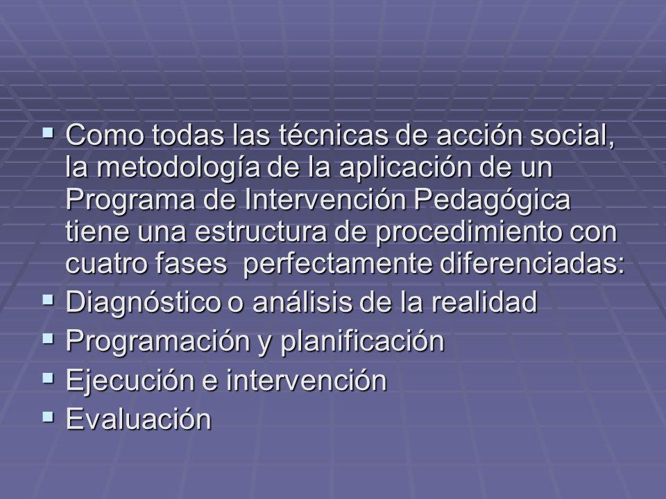 Como todas las técnicas de acción social, la metodología de la aplicación de un Programa de Intervención Pedagógica tiene una estructura de procedimiento con cuatro fases perfectamente diferenciadas:
