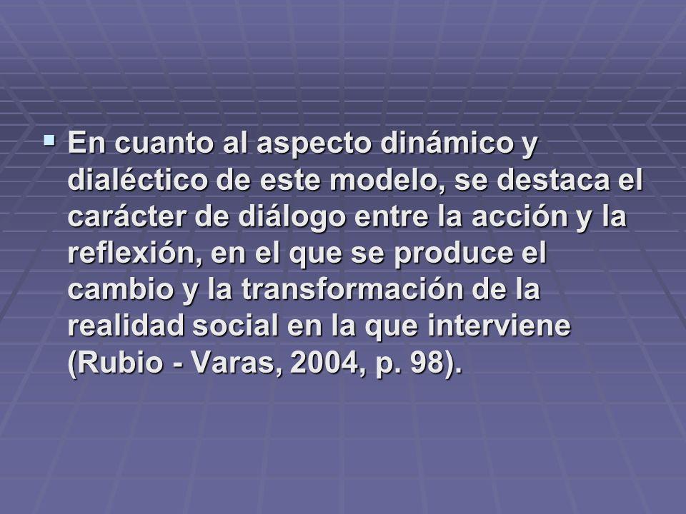 En cuanto al aspecto dinámico y dialéctico de este modelo, se destaca el carácter de diálogo entre la acción y la reflexión, en el que se produce el cambio y la transformación de la realidad social en la que interviene (Rubio - Varas, 2004, p.