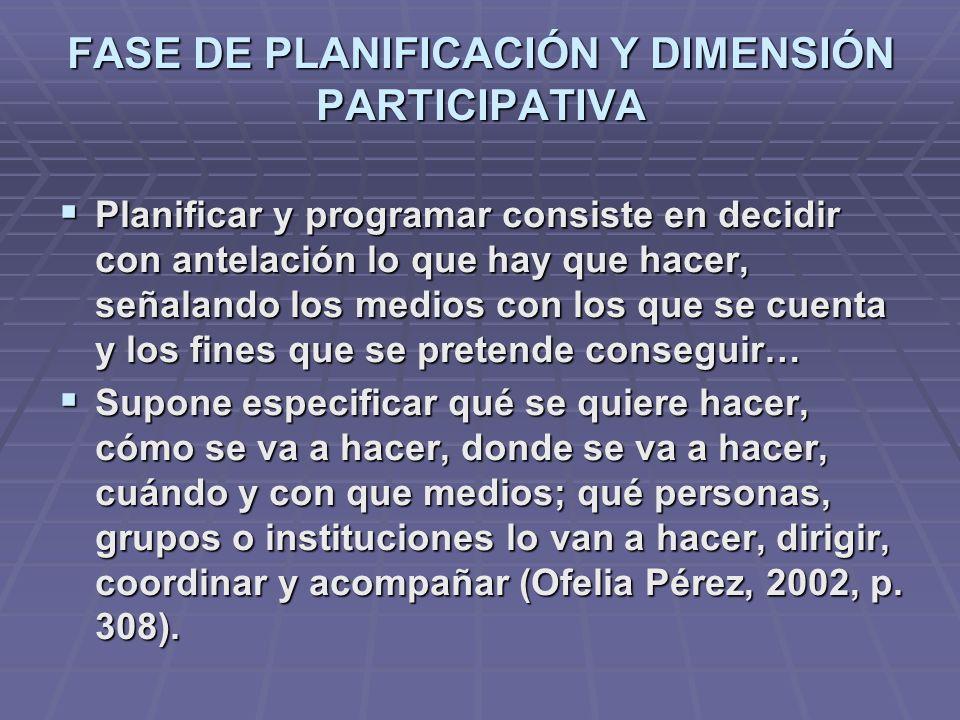 FASE DE PLANIFICACIÓN Y DIMENSIÓN PARTICIPATIVA