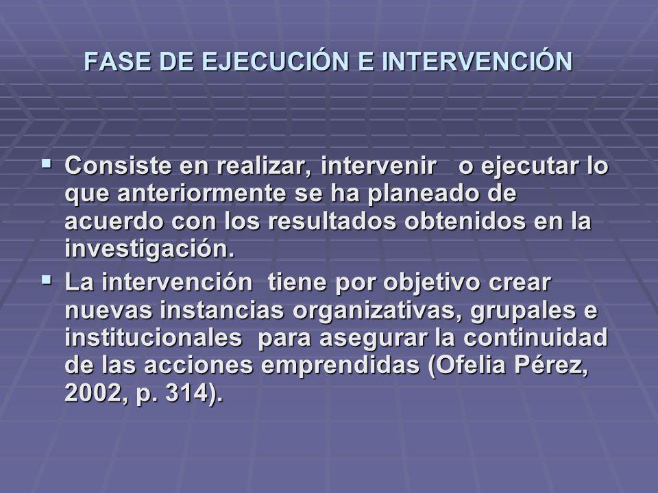FASE DE EJECUCIÓN E INTERVENCIÓN