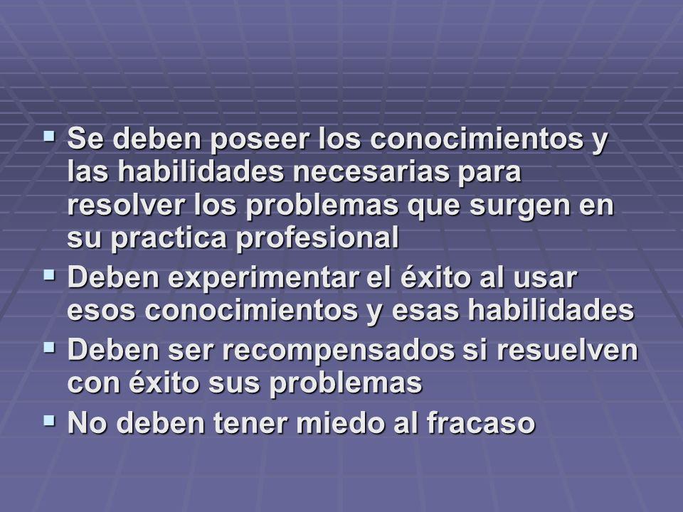 Se deben poseer los conocimientos y las habilidades necesarias para resolver los problemas que surgen en su practica profesional