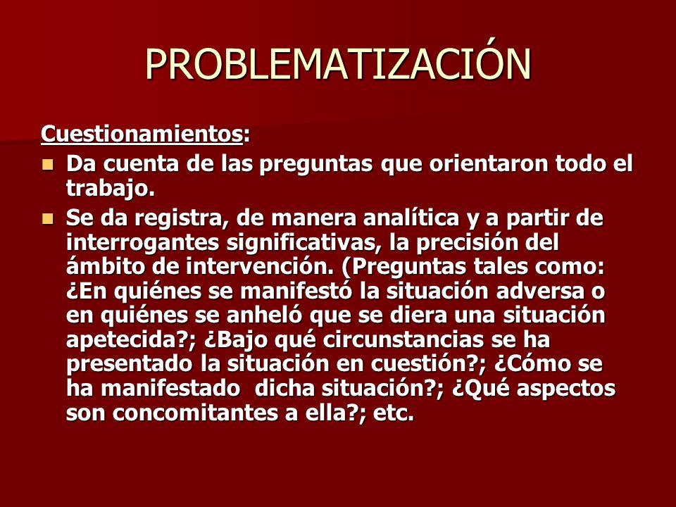PROBLEMATIZACIÓN Cuestionamientos: