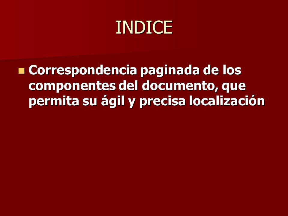 INDICECorrespondencia paginada de los componentes del documento, que permita su ágil y precisa localización.
