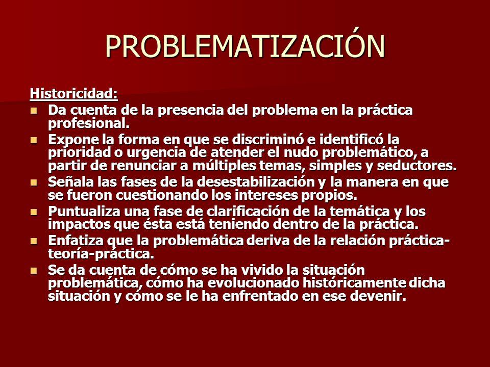 PROBLEMATIZACIÓN Historicidad: